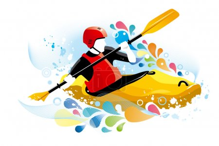 Vector illustration of a kayaker