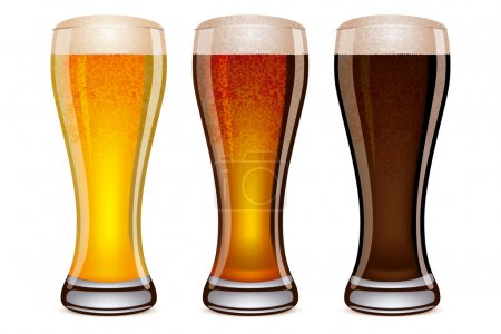 Illustration pour Illustration vectorielle de trois verres à bière - image libre de droit