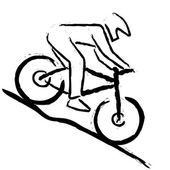Illustration of stylized mountain biker which is riding downhill