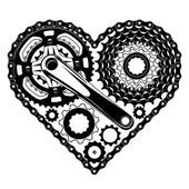 Differnt bicycle parts gatherd in the hape of heart