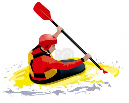 kayaker in red helmet and jacket in yellow boat