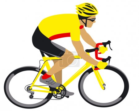 Racing cyclist in yellow jersey
