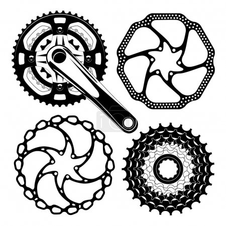 Illustration for Illustration of four black bicycle gears isolated on white - Royalty Free Image