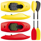 Set of kayaks with paddles in red and yellow colors