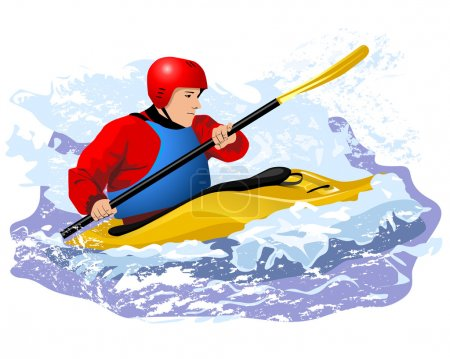 Kayaker in red jacket and blue life vest rawing in waves in yellow boat