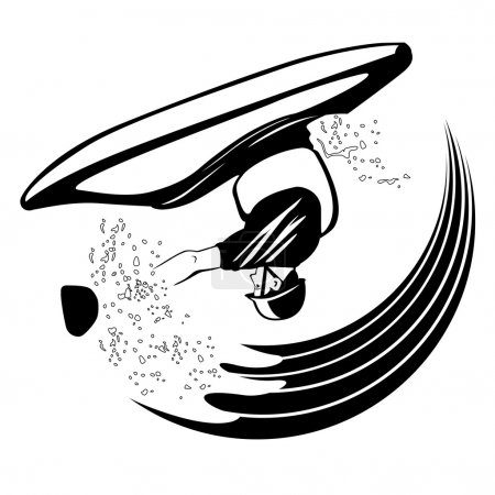 Black and white illustration of kayaker performs loop element
