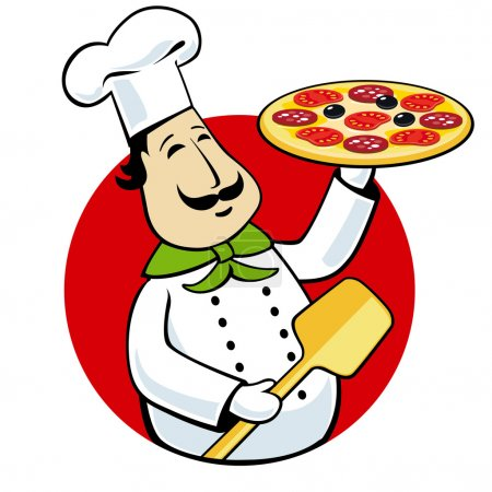 Chef holding pizza on a tray