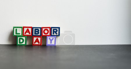 Colorful wooden word Labor day with white background4