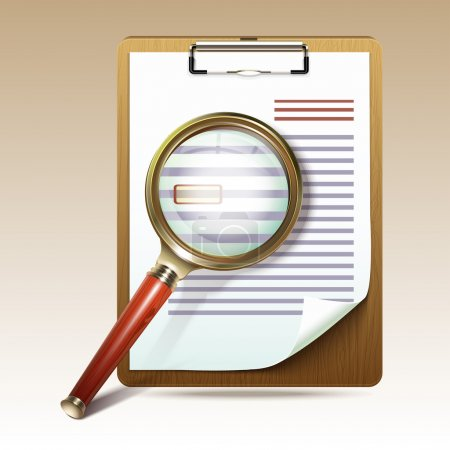 Illustration for Vector illustration of search concept with check list on clipboard and magnifying glass - Royalty Free Image