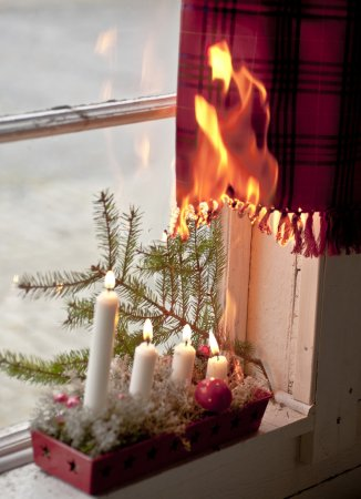 Christmas candles starting a fire