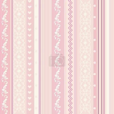Ornamenral pink striped wallpaper