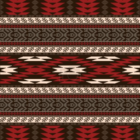 Illustration for Ethnic traditional native american style textile seamless pattern - Royalty Free Image