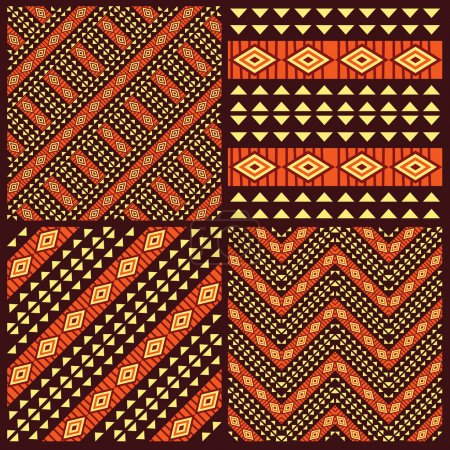 Set of tribal african seamless patterns