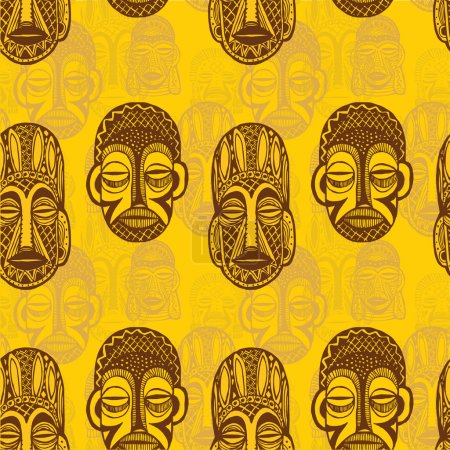 Illustration pour Modèle de masques tribaux - image libre de droit