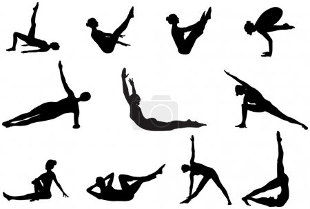 Pilates silhouettes of working out and stretching on the white b