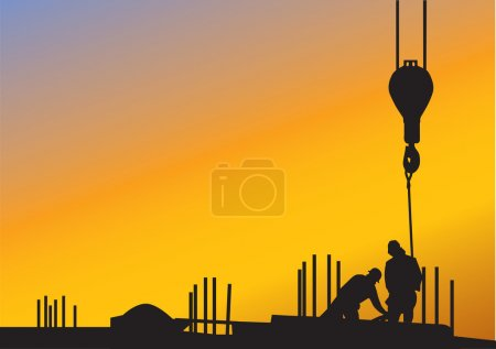 Illustration for The sunset background with silhouettes of construction workers - Royalty Free Image