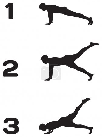 Man doing push ups in three steps black silhouettes on white bac