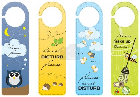 Illustration for Hanging signs for children and pet friendly hotels - Royalty Free Image