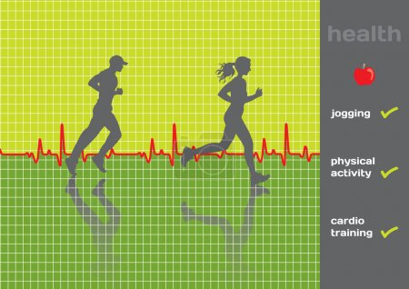 Illustration for Concept: cardiogram and a physical activity exam, jogging - vector; green and gray - Royalty Free Image