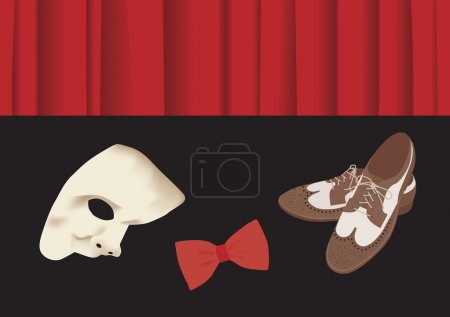 Old fashion shoes, bow tie and phantome mask in front of stage c