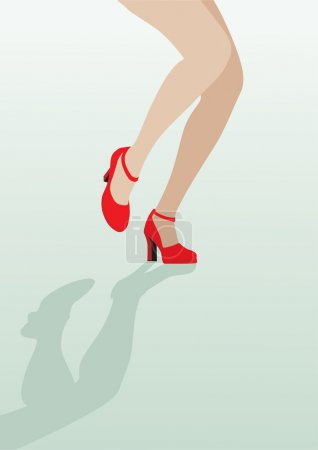 Female legs in sexy red shoes dancing on the green background; v