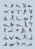 35 human silhouettes in various moves