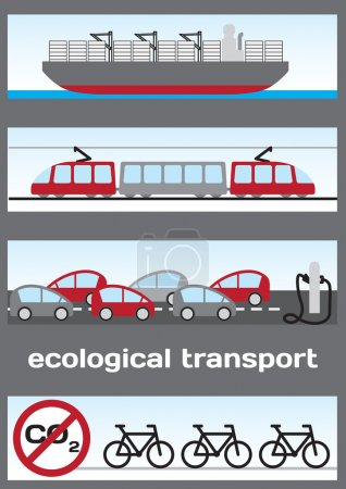 Ecological transport - ship, electric train, electric cars and b