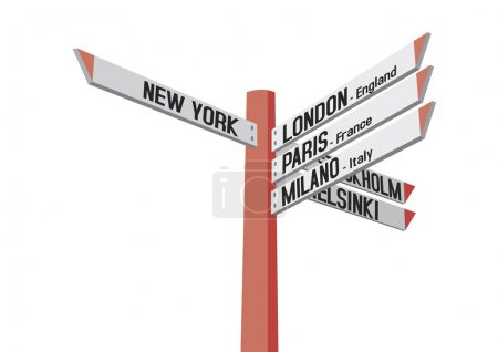 Illustration for Guidepost to New York, London, Paris, Milano, Stockholm and Helsinki, isolated on the white background - Royalty Free Image