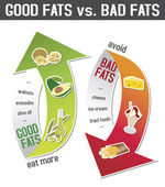 Good fats and bad fats polyunsaturated and monounsaturated fats vs saturated or trans fatty acids - infographic