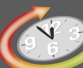 clock showing five minutes to twelve