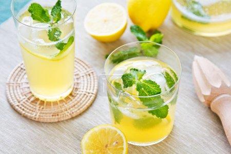 Photo for Lemonade with fresh lemon and mint by lemon reamer - Royalty Free Image
