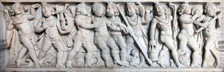Ancient Roman sarcophagus depicting procession of ...