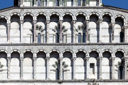 Details of the facade of the San Martino Cathedral in Lucca
