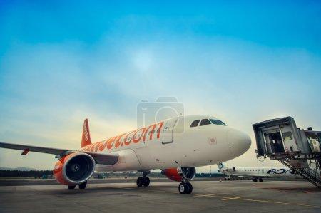LJUBLJANA - APRIL 20: Easyjet's airplane taxiing to the passange