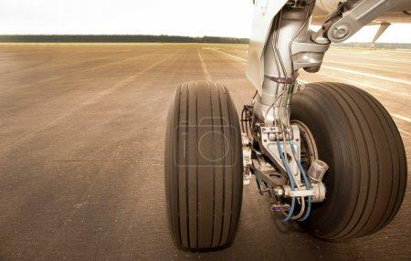 Photo pour Train d'atterrissage, roues sur la piste, gros plan - image libre de droit