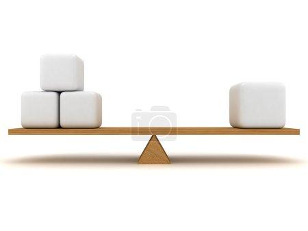Photo pour Équilibre entre trois petites figures et une grande, qui sont situés sur le pieu en bois. Sur les figures en forme de cube peut être placé respectivement texte - image libre de droit