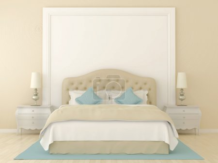 Photo for Bedroom in soft beige colors with blue decoration. Over the bed was a large frame with a white background where can be your tex. - Royalty Free Image