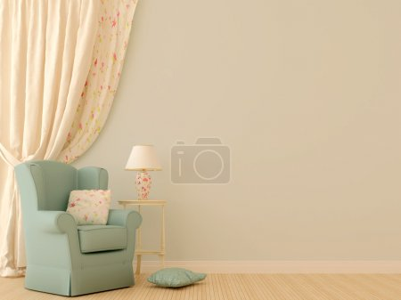 Photo for The interior in the style of Provence. Against the background of tenderly blue walls are located a blue chair with a white decorative table, a lamp and Massive light - Royalty Free Image