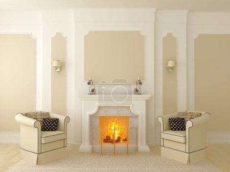 Photo pour Intérieur classique dans des tons beige, dont la partie centrale dispose d'une cheminée - image libre de droit