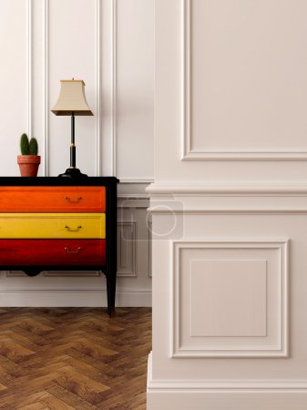 Photo for Stylish and colorful dresser against white walls - Royalty Free Image