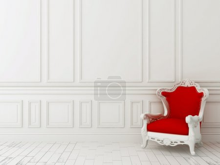 Photo for Red classic armchair against a white wall and white floor - Royalty Free Image