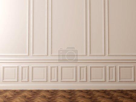 Foto de Pared blanca en un estilo clásico y un hermoso pavimento oscuro puede ser utilizado como fondo - Imagen libre de derechos