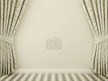 Photo pour Beaux rideaux contre les murs blancs avec un sol de tuiles noires et blanches - image libre de droit