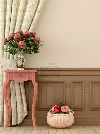 Photo for Composition in the style of Provence, consisting of antique pink console and flowers against of curtains and beige walls - Royalty Free Image