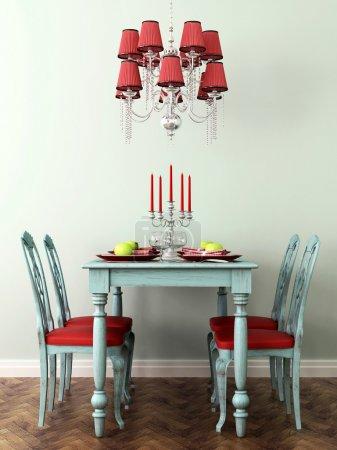 Photo pour Intérieur en couleurs bleu et rouge de célébration avec table posée, chaises et lampe - image libre de droit