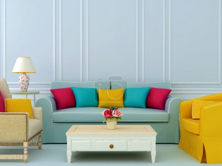 Photo for Beautiful composition of blue sofa and bright chairs with colorful pillows - Royalty Free Image