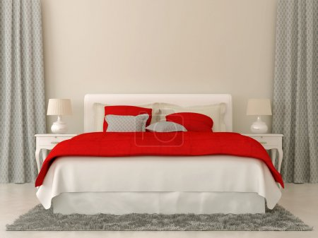 Photo for Bedroom decorated in red and grey bedspread and curtains in Christmas style - Royalty Free Image