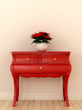 Photo for Composition in the style of Christmas with bright red chest and plants on it - Royalty Free Image