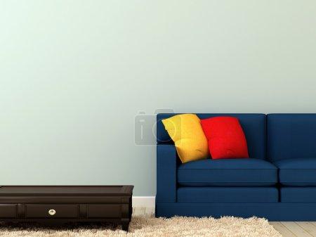 Photo pour La composition d'un canapé et d'une table noire sur le tapis blanc et se concentrer sur des oreillers lumineux - image libre de droit