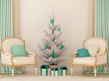 Photo pour Intérieur de Noël avec promptitude beau beige et de bleu couleurs et composé de deux chaises et un arbre de Noël - image libre de droit